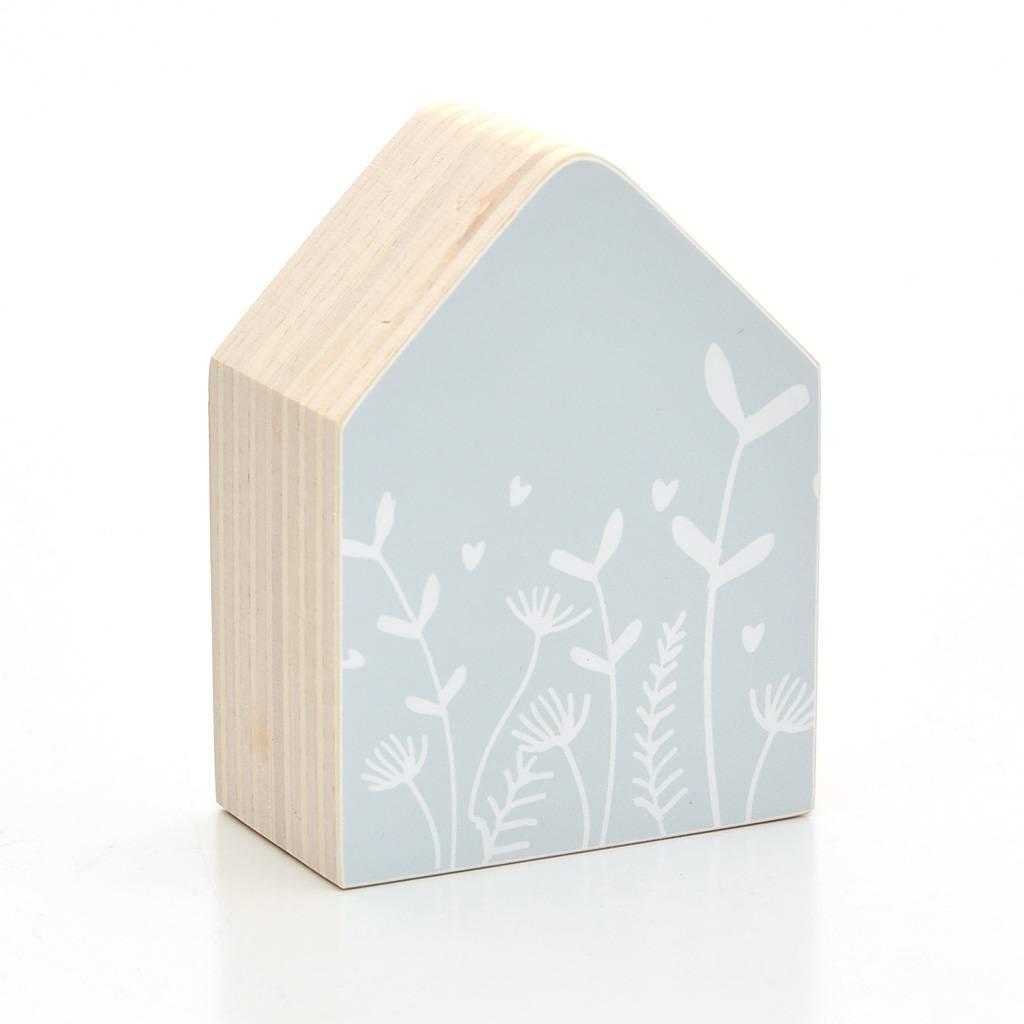 Dots Lifestyle Holzhaus Blumen, hellblau
