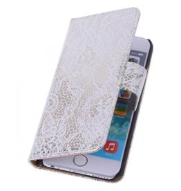 Wallet bloemetjes lace wit hoes iPhone 6(s) Plus