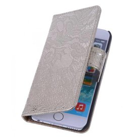 Wallet bloemetjes lace goud hoes iPhone 6(s) Plus