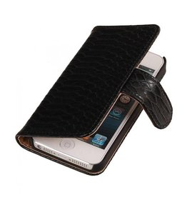 Bookwallet slang zwart hoes iPhone 4(s)