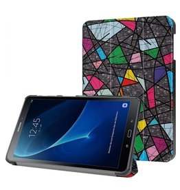 3-Vouw abstract patroon stand flip hoes Samsung Galaxy Tab A 10.1 inch (2016)