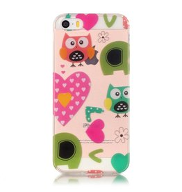 Softcase hoes uilen love iPhone SE / 5(s)