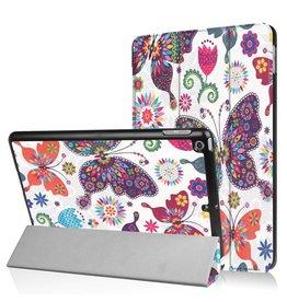 Lunso 3-Vouw kleurrijke vlinders stand flip hoes iPad 9.7 (2017/2018)