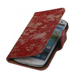 Wallet bloemetjes lace rood hoes Samsung Galaxy S3