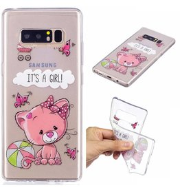 Softcase hoes roze kat Samsung Galaxy Note 8