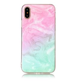 Softcase marmer roze/cyaan hoes iPhone X / XS