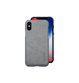 Pierre Cardin Pierre Cardin echt lederen hardcase hoes iPhone X / XS grijs