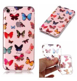 Softcase vlinders hoes iPhone 7 / 8 / SE (2020)