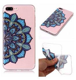 Softcase mandala bloem blauw hoes iPhone 7 Plus / 8 Plus