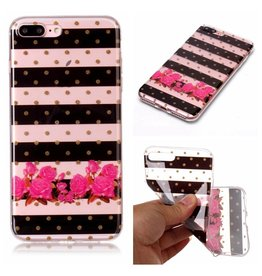 Softcase strepen en bloemen hoes iPhone 7 Plus / 8 Plus