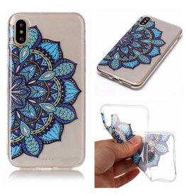Softcase mandala bloem blauw hoes iPhone X / XS