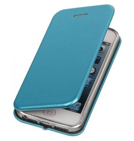 Slim folio wallet hoes iPhone SE / 5(s) lichtblauw
