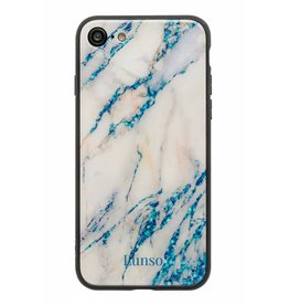 Lunso Lunso - marmeren backcover hoes - iPhone 7 / 8 / SE (2020)  - lichtblauw