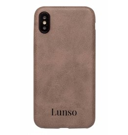 Lunso Lunso - ultra dunne backcover hoes - iPhone X / XS - lederlook donkerbruin