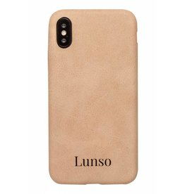 Lunso Lunso - ultra dunne backcover hoes - iPhone X / XS - lederlook beige