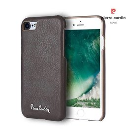 Pierre Cardin Pierre Cardin - echt lederen backcover hoes - iPhone 7 / 8 - donkerbruin