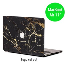 Lunso Lunso - hardcase hoes - MacBook Air 11 inch - marmer zwart/goud