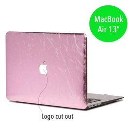 Lunso Lunso - hardcase hoes - MacBook Air 13 inch - shiny leer roze
