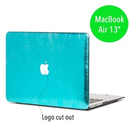 Lunso Lunso - hardcase hoes - MacBook Air 13 inch - shiny leer lichtblauw