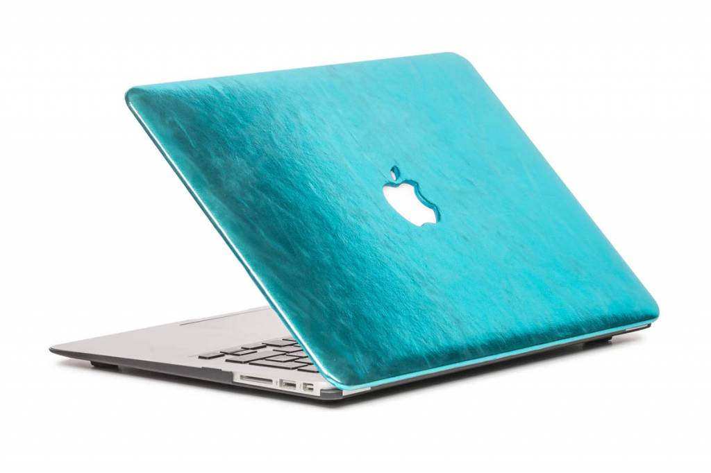 Lunso Lunso cover hoes shiny leer lichtblauw voor de MacBook Air 13 inch (2010-2017)