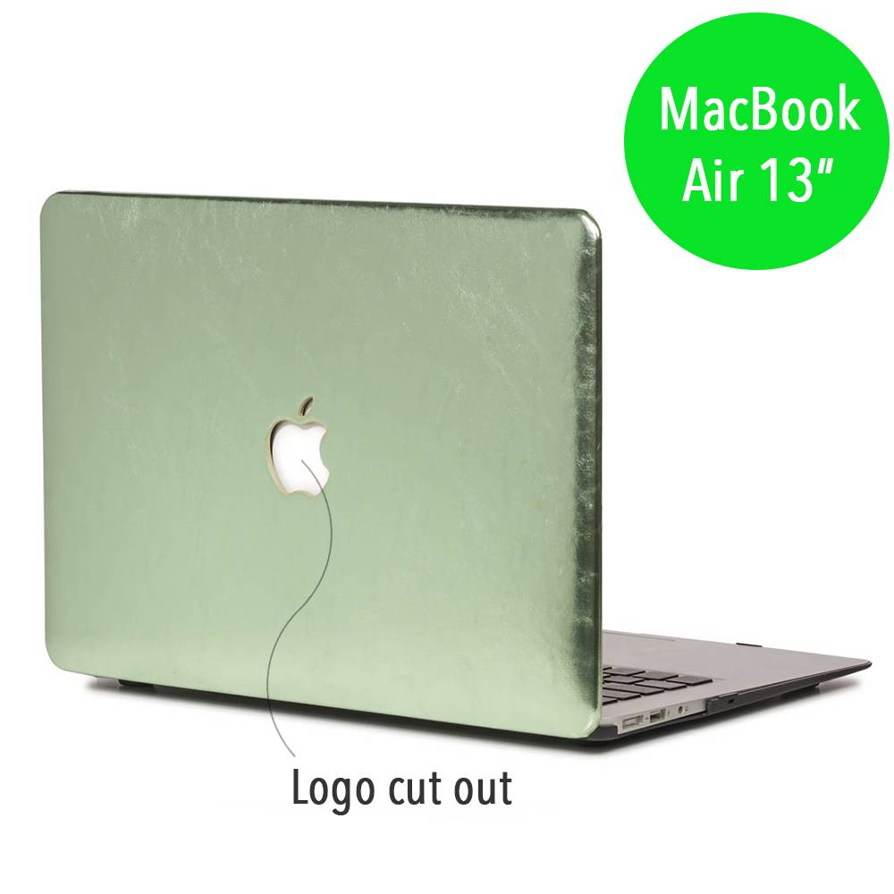 Lunso Lunso cover hoes shiny leer groen voor de MacBook Air 13 inch