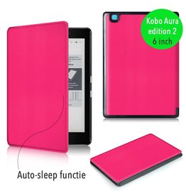 "Lunso Lunso - sleepcover flip hoes - Kobo Aura edition 2 (6"") - roze"
