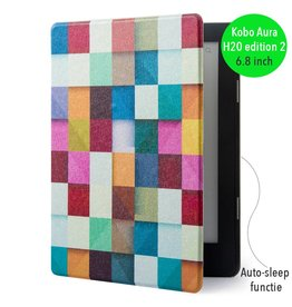 "Lunso Lunso - sleepcover flip hoes - Kobo Aura H20 edition 2 (6.8"") - blokken"