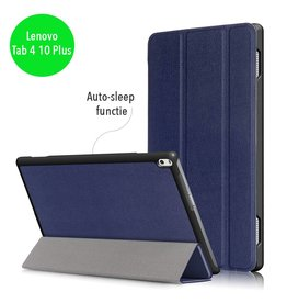 Lunso 3-Vouw sleepcover hoes - Lenovo Tab 4 10 Plus - blauw