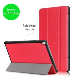 Lunso 3-Vouw sleepcover hoes - Lenovo Tab 4 10 Plus - rood