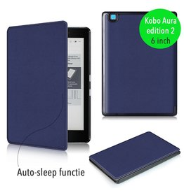 "Lunso Lunso - sleepcover flip hoes - Kobo Aura edition 2 (6"") - blauw"