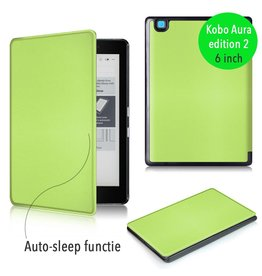 "Lunso Lunso - sleepcover flip hoes - Kobo Aura edition 2 (6"") - groen"