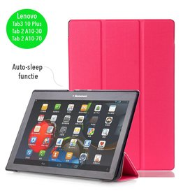 3-Vouw sleepcover hoes - Lenovo Tab3 10 Plus / Tab 2 A10-30 / Tab 2 A10-70 - roze