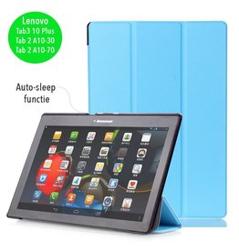 Lunso 3-Vouw sleepcover hoes - Lenovo Tab3 10 Plus / Tab 2 A10-30 / Tab 2 A10-70 - lichtblauw