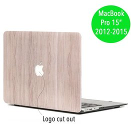 Lunso Lunso - hardcase hoes - MacBook Pro Retina 15 inch (2012-2015) - houtlook lichtbruin