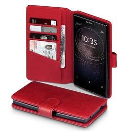 Qubits Qubits - luxe echt lederen wallet hoes - Sony Xperia L2 - rood