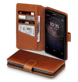 Qubits Qubits - luxe echt lederen wallet hoes - Sony Xperia L2 - cognac