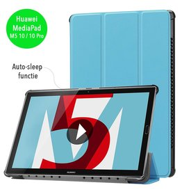 3-Vouw sleepcover hoes - Huawei MediaPad M5 10.8 inch / 10.8 inch Pro - lichtblauw
