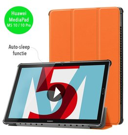 3-Vouw sleepcover hoes - Huawei MediaPad M5 10.8 inch / 10.8 inch Pro - oranje
