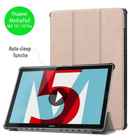 3-Vouw sleepcover hoes - Huawei MediaPad M5 10 / 10 Pro - roze/goud