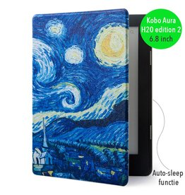 "Lunso Lunso - sleepcover flip hoes - Kobo Aura H20 edition 2 (6.8"") - Van Gogh schilderij"