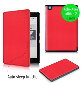 "Lunso Lunso - sleepcover flip hoes - Kobo Aura edition 2 (6"") - rood"