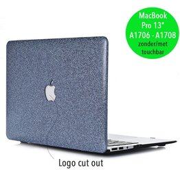 Lunso Lunso - cover hoes - MacBook Pro 13 inch (2016-2018) - glitter blauw