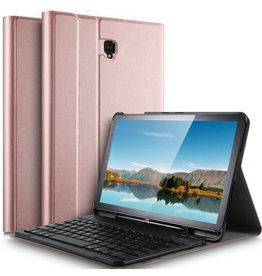 Afneembare Keyboard hoes - Samsung Galaxy Tab S4 10.5 inch - roze / goud