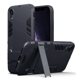 Qubits Qubits - Double Armor Layer hoes met stand - iPhone XR - zwart