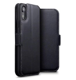 Qubits Qubits - lederen slim folio wallet hoes - iPhone XR - Zwart