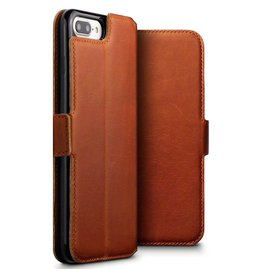 Qubits Qubits - lederen slim folio wallet hoes - iPhone 7 Plus / 8 Plus - cognac