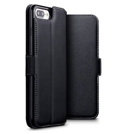 Qubits Qubits - lederen slim folio wallet hoes - iPhone 7 Plus / 8 Plus - zwart