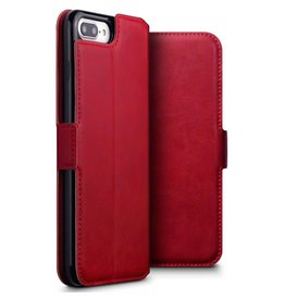 Qubits Qubits - lederen slim folio wallet hoes - iPhone 7 Plus / 8 Plus - rood
