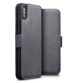 Qubits Qubits - lederen slim folio wallet hoes - iPhone XS Max - grijs