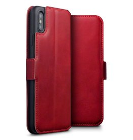 Qubits Qubits - lederen slim folio wallet hoes - iPhone XS Max - rood